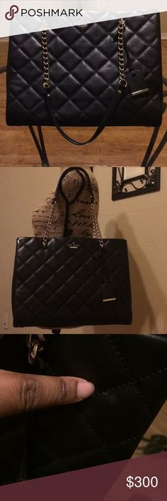 "💯Authentic Kate Spade Tote 💯Authentic Kate Spade Emerson Place Phoebe tote.  Black quilted leather with gold tone hardware dual chain-link and leather shoulder straps, exterior magnetic clasp pocket, ivory signature jacquard lining, dual compartments, 4 interior pockets; 2 with zip closure and magnetic snap closure at top.  Great used condition.  Minor scuffs at exterior and corners.  Height 11"" strap 10.25"" width 14"".  Includes dust bag. Kate Spade Bags Totes"