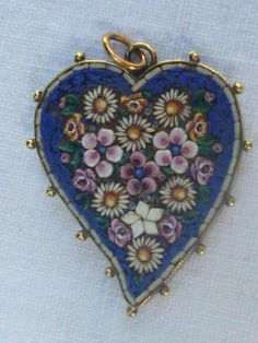 Micro Mosaic Blue Witch's Heart Pendant