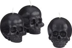 Set of 3 Skull Candles for a halloween tablescape | Crate and Barrel #halloweenwedding, #gothicwedding