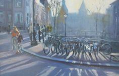 Amsterdam, Spiegelgracht met Rijksmuseum op de achtergrond.