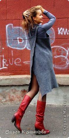 сарафан валяный - Поиск в Google the magic of felt fashion, apron dress from wool, woolly outside style look book