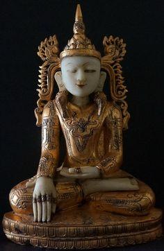 Burmese Alabaster Shan Royal King Buddha Statue 18th Century ♨️ :More At FOSTERGINGER At Pinterest ♨️