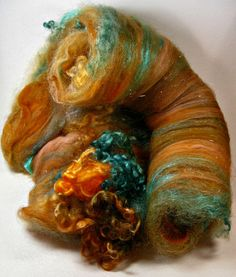 Coppered Teal Wild Card Bling Batt for spinning and by yarnwench