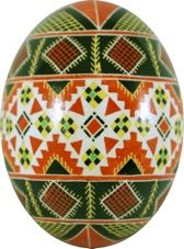 """Pysanky / Писанки (from pysaty / писанти, """"to write"""") are raw eggs created with the wax-resist method (batik). The designs are """"written"""" with a stylus (traditional pysanka/linear batik – left) or a pinhead (drop-pull pysanka – right). The """" drop-pull"""" eggs are most common in western Ukraine (among the Lemky and Boyky)."""