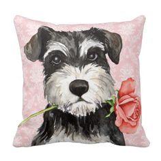 Valentine Rose Miniature Schnauzer Pillows