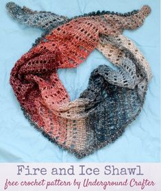 (Multicolor triangular shawl displayed against a blue background.) Free crochet pattern: Fire and Ice Shawl in Lion Brand Shawl in a Ball Metallic yarn by Underground Crafter | This simple, triangular shawl shines in a self-striping, metallic yarn.