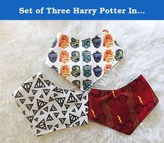 Set of Three Harry Potter Inspired Bandana Bibs, Baby Shower Gift, Baby Bandana, Drool Bib. Set of three bandana bibs All backed with PUL waterproof materials Complete with 2 sets of snaps for a long lasting wear.