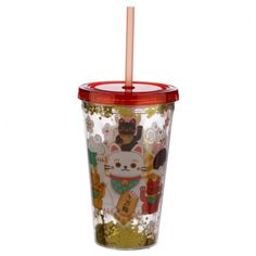Fun for all the family at home, work or on holiday, our new range of reusable double walled cups keep cold drinks cold. Printed with fun designs they are colourful and practical and come with a lid and reusable straw. Each cup holds 500ml. Our double walled cups keep cold drinks cooler for longer and are not suitable for use with hot liquids. The straw is not recommended for children under 5. Dimensions: Height 16cm Width 10cm Depth 10cm Straw 23cm (approx 6 x 4 x 4 inches; straw 9 inches) Reusable Cup, Funky Design, Maneki Neko, Cold Drinks, Cool Designs, Cups, Range, Printed, Children