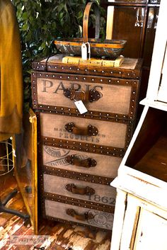 A trunk styled dresser... this would be cool to do to a reclaimed dresser! from Lucketts store via http://www.funkyjunkinteriors.net/