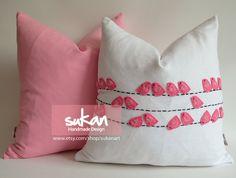 Sukan / Pink Birds White Linen Pillow cover Throw by sukanart, $88.00