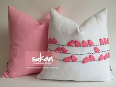 Sukan / Pink Birds, White Linen Pillow cover, Throw Pillow Cover, Decorative PIllow, Cushion Cover, - 18x18