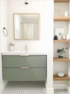 The guest bathroom is equipped with a simple Ikea vanity.- Das Gäste-Badezimmer ist mit einem einfachen Ikea-Waschtisch ausgestattet, der The guest bathroom is equipped with a simple Ikea vanity, which … – – - Bathroom Styling, Bathroom Inspiration, Simple House, Bathroom Decor, Interior, Ikea Vanity, Simple Bathroom, Bathroom Interior Design, Guest Bathroom Design