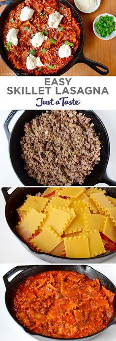 Easy Skillet Lasagna recipe from justataste.com #recipe #dinner