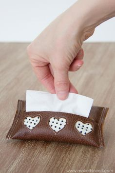 DIY leather mini-tissue holder from Make It and Love It