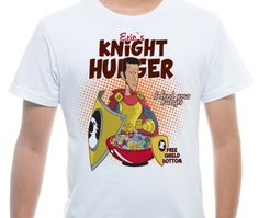 Camiseta Básica na cor Branco - Ilustração Knight's Breakfast por Ian Menezes