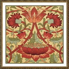 Loden in Earthtones by Arts and Crafts Movement Founder William Morris Counted Cross Stitch or Counted Needlepoint Pattern