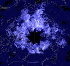NASA's AIM spacecraft took this picture of the entire Arctic surrounded by an electric-blue glow on July 24th.