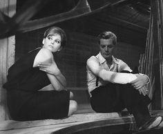 Claudia Cardinale and Marcello Mastroianni on the set of Otto e mezzo (1963)