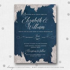 Navy Blue and Silver Grey Wedding Invitation, Star Wedding Invitation, Starry Night Celestial Wedding Invite, Constellation Night Sky Glittering Stars Wedding Invitation, Winter Snow Frost Wedding Invitation by Soumya's Invitations