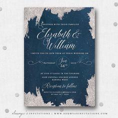 Navy Blue and Silver Grey Wedding Invitation, Star Wedding Invitation, Starry Night Celestial Wedding Invite, Constellation Night Sky Glittering Stars Wedding Invitation, Winter Snow Frost Wedding Invitation by Soumya's Invitations