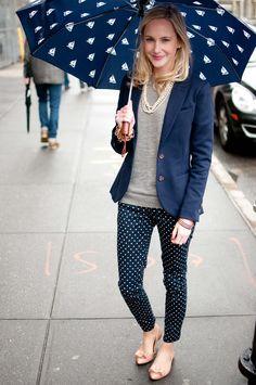 Polka dot pants w/ grey sweater & navy blue blazer- so cute