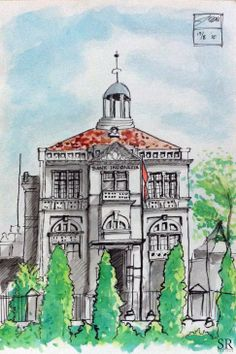Doodlewash and watercolor sketch by Ngurah Angga of Bank Indonesia Solo #WorldWatercolorMonth