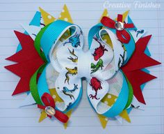 One Fish Two Fish Seuss Bow Hair Bow Fish. I need to learn how to make bows for B!