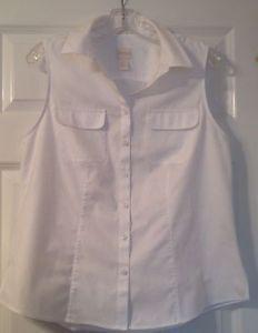 Chicos White Sleeveless No Iron Cotton Button Top Size 1 5 | eBay
