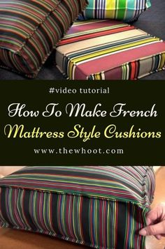 Sewing Pillows How To Make French Mattress Style Cushions - Learn how to make french mattress style cushions for your home. They are easy when you know how and we have a video tutorial to show you. Fabric Bins, Fabric Scraps, Sewing Hacks, Sewing Crafts, Sewing Tips, Sewing Ideas, Softies, Love Sewing, Sewing Projects For Beginners