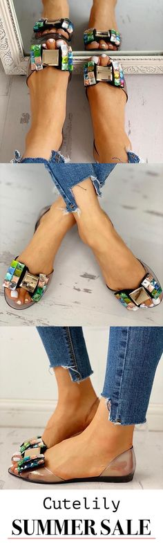 Bowknot Design Peep Toe Flat Sandals Numerous Fashion Styles 🌹🌹🌹 BUY One Get 1 Cute Shoes, Me Too Shoes, Peep Toe Flats, Summer Heels, Crazy Shoes, Flat Sandals, Fashion Shoes, Shoe Boots, Pedicure Ideas