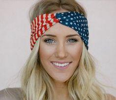 Vintage American Flag Headband USA Hair Band Red White Blue Fashion Accessory | eBay