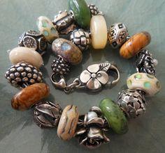 My autumn bracelet. Pandora Beads, Pandora Bracelet Charms, Pandora Jewelry, Artisan Jewelry, Antique Jewelry, Handmade Jewelry, Funky Jewelry, Gypsy Jewelry, Bracelet Display