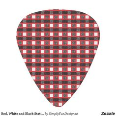 Red, White and Black Static Weave Guitar Pick