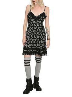Black & White Skull Lace Dress, BLACK