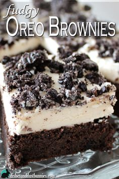 Fudgy Oreo Brownies with Homemade Oreo Cream Frosting from dishesanddustbunnies.com