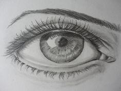 Desenho de um olho a lápis de grafite HB e 6B, com utilização de esfuminho e borracha. (Malay - 4/6/14)