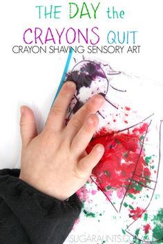 Use crayon shavings to make this sensory art based on the book, The Day the Crayons Quit! This is a great fine motor activity too!