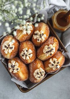 3.5 hours · Vegetarian · Serves 8 · These salted caramel brioche doughnuts are the perfect combination of a fluffy brioche doughnut filled with a sweet and salty caramel pastry cream. Donut Recipes, Baking Recipes, Bread Recipes, Just Desserts, Dessert Recipes, Snack Recipes, Homemade Brioche, Pastel, Mini Chocolate Chips