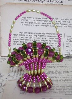 VINTAGE handmade SAFETY pin BEAD basket Purple by jennyelkins, $8.00