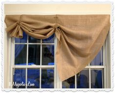 Tutorial: How to Make a No-Sew DIY Burlap Window Valance – 11 Magnolia Lane Farmhouse Valances, Kitchen Window Valances, Kitchen Curtains, Farmhouse Decor, Kitchen Windows, Rustic Decor, Tie Up Curtains, Bedroom Curtains, Window Curtains