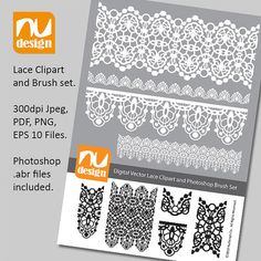 Pretty Digital Vector Lace Clipart and Photoshop by NuDesignCo, £2.00