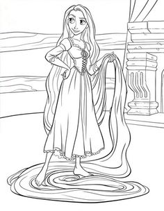 Free - Print your own Rapunzel coloring page.  Would be cute to print out a few pages and add it to a goody bag with crayons for a party favor.