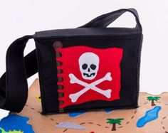 Pirate Imagination Bag, Pirate Gift Toy, Personalized Messenger Bag, Treasure Map, Pirate Hat, Pirate Vest and More