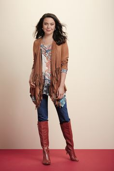 Swingy fringe featured on a soft suede jacket! #FallFind #SteinMart
