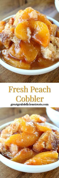 Fresh Peach Cobbler is an easy peach cobbler recipe. A homemade Southern classic dessert, packed full of fresh, juicy peaches and a delicious cobbler topping. Fruit Recipes, Desert Recipes, Sweet Recipes, Baking Recipes, Fresh Peach Cobbler, Fruit Cobbler, Cobbler Topping, Cobbler Recipe, Homemade Peach Cobbler