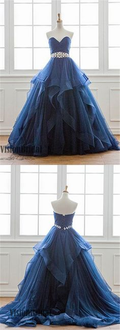 Navy Blue Sweetheart Long Ruffles With Beaded Prom Dress, Princess Lace Up Prom Dress, Prom Dresses, VB0254 #promdress
