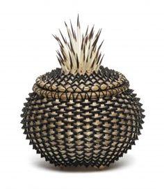 Joanne Russo basket - black ash, pine needles, porcupine quills.