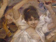 WILLETTE Adolphe,1884 - Parce Domine - Detail 044 : Français : Jeunes femmes en fête.  English: - Young women enjoying the feast. - Montmartre -