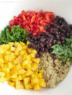 Mango black bean quinoa salad is a light, healthy, and filling salad. Hearty quinoa and black beans, crisp red peppers, green onions, and cilantro all covered in an easy olive oil vinaigrette dressing. It's also great for lunch too!mangoblackbean