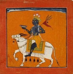 A ragamala painting in opaque watercolour on paper, illustration to the musical mode Bhairava Raga, depicting Bhairava riding upon a bull. Kulu, India. Date ca. 1700 - ca. 1710